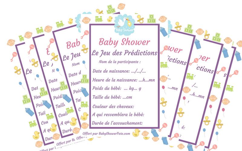 activité baby shower : jeu des prédictions