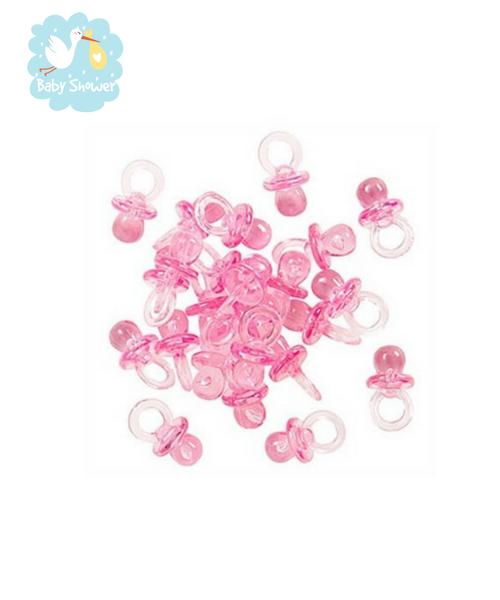 décoration baby shower tétines roses