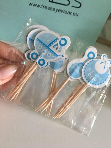 Décoration baby shower garçon: 20 pics bleus pour cupcakes bavoir, hochet, landau photo review