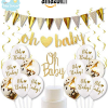 set decoration baby shower blanc