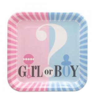 8 assiettes en carton bleu et rose pour baby shower