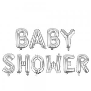 Ballons décoration baby shower- Lettres grises