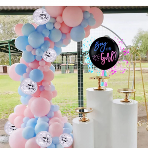 Set 86 ballons roses et bleus pour décoration baby shower