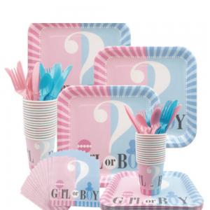 Set vaisselle jetable pour révélation sexe bébé